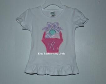 Girl Short Sleeve Ruffle Shirt with Monogrammed Easter Basket