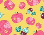 05001 -Camelot Fabrics Fairyville collection - Apple Houses in yellow  color- 1 yard