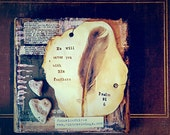 His Feathers. mixed media feather heart rocks Bible verse by Jodene Shaw