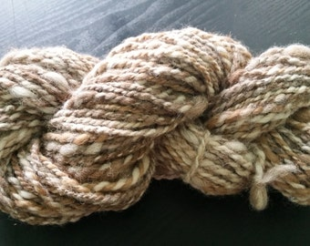 Handspun yarn in Natural Multi Color 100%  Alpaca 80 yards spun bulky to super bulky for knit, crochet, etc. 4.3 oz alpaca from local farm