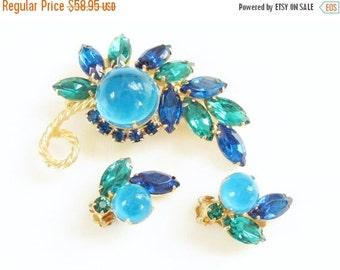 SaLe Vintage Juliana Blue Green Cabochon Rhinestone Brooch Earrings Verified