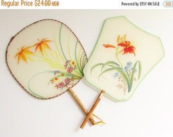 SaLe 2 Vintage Silk Bamboo Hand Painted Orange Lily Paddle Fans Peoples Republic