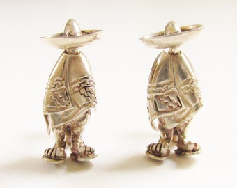 Vintage Sterling Mexico Man Earrings with Poncho Sombero Sandles signed