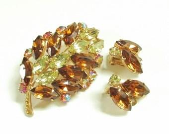 Vintage Brooch & Earrings Pink Citrine Amber Rhinestone 60s