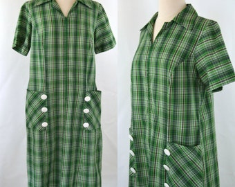 1960s/1970s Green Pinstripe Plaid Shift Dress, Every Day Wear, House Dress, Tartan Dress