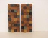Modern Blue/Yellow Wood Block Minimalist Art Set