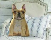Beige Fawn French Bulldog - Front only - Dog Pillow - Stuffed Animal