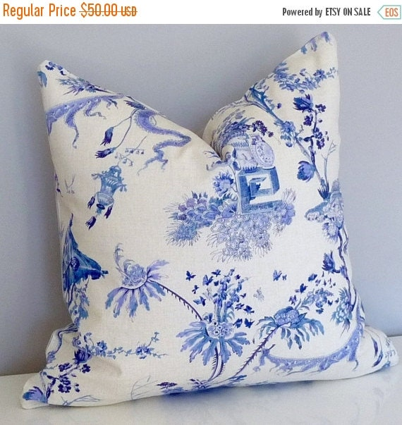 indigo blue chinoiserie toile decorative pillowdwell by tanche. Black Bedroom Furniture Sets. Home Design Ideas