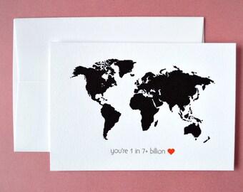 you're 1 in 7+ billion mini notecard :  letterpress