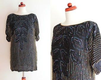 Vintage 1980's Sequin Shirt - Embroidered Silk Shirt - 1980's Top
