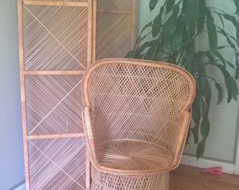 Wicker rattan room divider. Bohemian glam. Fig House Vintage Interiors