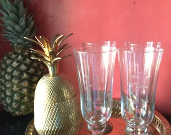 Glasses. Monogrammed H tall drinking glasses. Beer Cocktail. Entertain in style. H