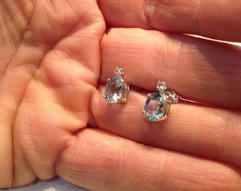 Topaz and White Sapphire Earrings