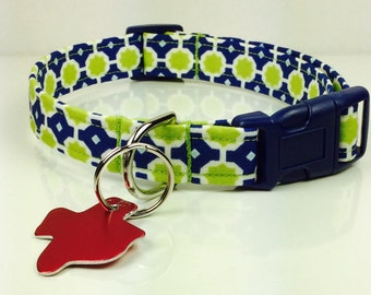 Blue and Green Chain - Dog Collar - Adjustable