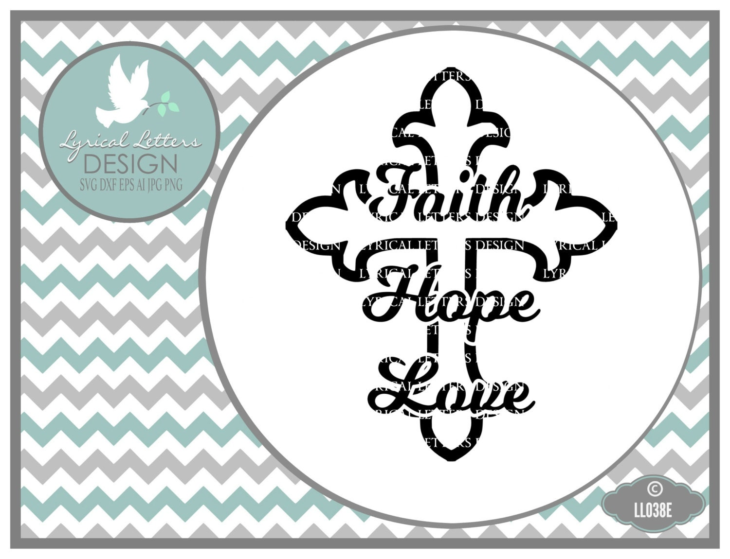 Download Faith Hope Love Cross LL038 E Svg Cutting File Includes