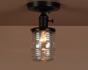 Semi Flush Lighting  w/ Clear Glass, Nautical Marine Globe Jar Light - Hand Finished in Oil Rubbed Bronze - Downrod Option