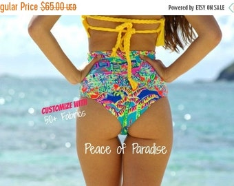 30% Off Sale Wawa Retro SCRUNCH Butt High Waisted Bikini Bottoms - Create Your Own