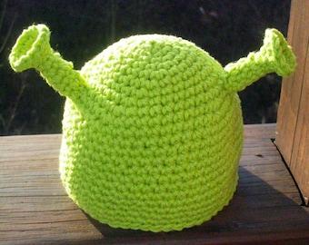 Shrek hat - Ogre Crocheted - Theater costume - Shrek costume - Photo Prop - All Sizes