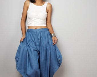 Denim Pants / Harem Pants / Wide leg pants / Soft Blue Denim Pants : Nature Touch Collection