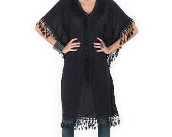 Black Kaftan / Bohemian Kaftan / Cotton and lace kaftan : Bohemian Kaftan Collection No.4