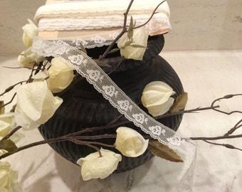 Vintage White/ Light Ivory Nylon Lace, Vintage Country Lace, Lace Yardage Supplies, Wedding Lace, Bridal Lace