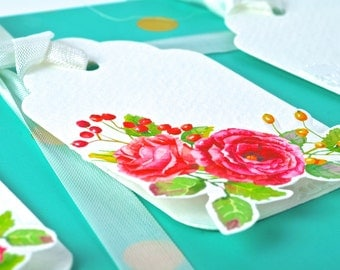 Premium Watercolor Flower Gift Tag Set - 3Pk Dimensional Floral Gift Tags. Gift Topper. Gift Embellishments - Beautiful Gift Tags | Handmade