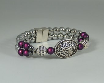 Purple glass and Magnetic Hematite Designer Bracelet