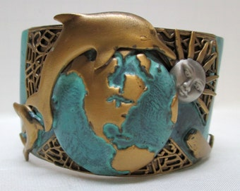 Vintage One-of-a-Kind Dolphin and Whale Cuff Bracelet