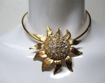 Vintage YSL Goossens for Yves Saint Laurent Sunflower & Rhinestones Choker Necklace