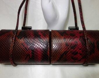 RODO Vintage Snakeskin Embossed Burgundy/Black Leather Baguette Evening Bag