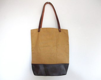 Tan Canvas and Dark Brown Leather Tote Bag