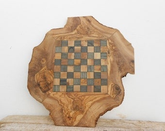 Rustic & Unique Olive Wood Chess Set Board 14 Inch, Grandpa Gift, Dad gift, Anniversary Gift