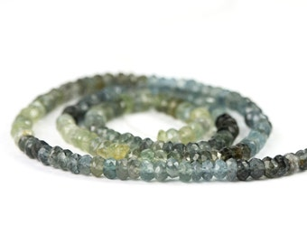 Moss Aquamarine Micro Faceted Rondelles Set of 10 Shaded Moss Green Grey Blue Semi Precious Gemstone winter color
