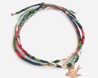 Liberty bracelet with pink gold Plated Swallow - Bird Bracelet