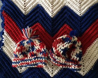 """Celebrate """"Red White & Blue"""" - American Style! Blankets, Bibs, Sweaters, Hats!"""