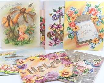 Sale Greeting Cards Birthday Get Well Die Cut Glitter Vintage 1950s Unused 7 Cards Scrapbooking