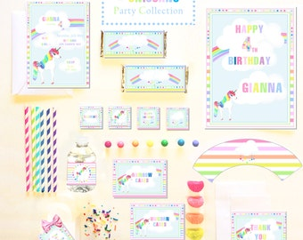 RAINBOWS & UNICORNS Party COLLECTION ~ Personalized Printable Download