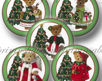 Christmas, Teddy Bear, Bottle Cap Images, Digital Collage Sheet, 1 Inch Circle,  Dressed Up Teddy Bears, Instant Download, Christmas Images