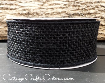 "SALE!! Burlap Wired Ribbon, 2"" wide,  Black Rustic Natural Jute - TEN YARD Roll - Halloween / Wreath / Decor / Craft Wire Edged Ribbon"
