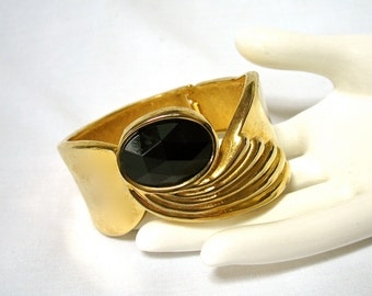 1980's Hinged Bangle Bracelet, Clamper, ART DECO Revival, Egyptian, wide, faceted stone, gold tone, gift, Excellent