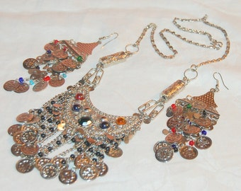 Vintage Gypsy Dangle Necklace and Earring Set Coins Tribal Belly Dancing Boho