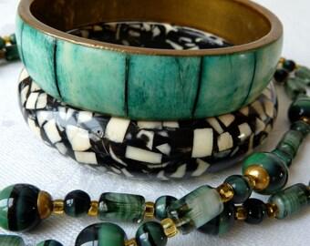 Trio of Jewellery Pieces: Green/Black Glass Beads & Brass Necklace, Monochrome Resin Confetti Bangle, Sea Green Bone Inset Brass Bangle