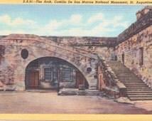 St. Augustine, Florida, Castillo de San Marcos, National Monument, Arch - Linen Postcard - Unused (X)