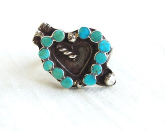 Turquoise Zuni Ring Size 5 .5 Blue Heart Vintage Southwestern Sterling Silver Cupid's Arrow Romantic Jewelry