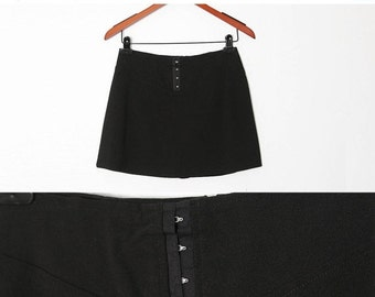 ON SALE Vintage 90s Black Mini Skirt with attached shorts