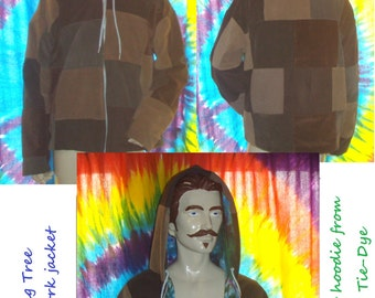 Custom made to order Loving Tree Patchwork Corduroy hooded Jacket fully lined with Yummy Tie-Dyes hooded sweatshirt