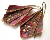 RESERVED - One Day I Will Be A Mountain - primitive organic fold formed copper wing pagan dark red rust patina metalwork decay earrings