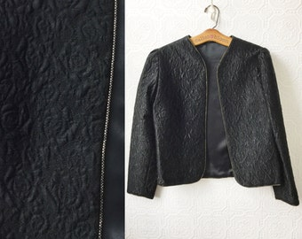 Black Satin Jacket, Reversible Quilted Evening Coat, Gold Trim, size Medium, Vintage