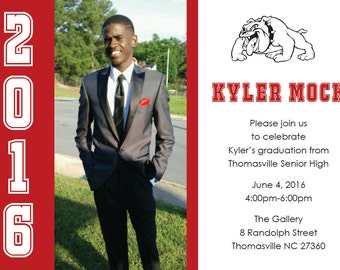 Graduation Invitation, pick your school colors and mascot