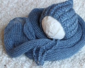 Knitted Mohair Set, Knitted Mohair Wrap and bonnet, New Born Bonnet and wrap Set, Unisex Photo Prop